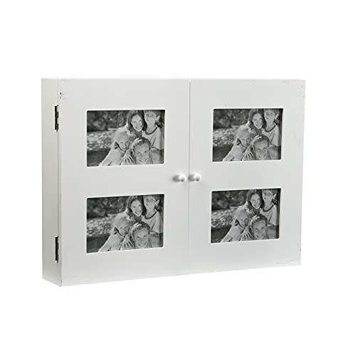 Versa Creston Cubrecontador con marco de fotos para 4 imágenes, Tapa para contador decorativo, Medidas (Al x L x An) 33 x 8,5 x 46 cm, Madera, Color Blanco