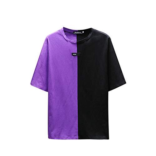 FRAUIT T-Shirt Herren Mode Lose Patchwork T-Shirt Tops Rundhals Kurzarm Shirts Sommer Shirt Freizeit Shirt Hemd Oberteil Bluse 100% Baumwolle Weich Atmungsaktiv Bequem Kleidung