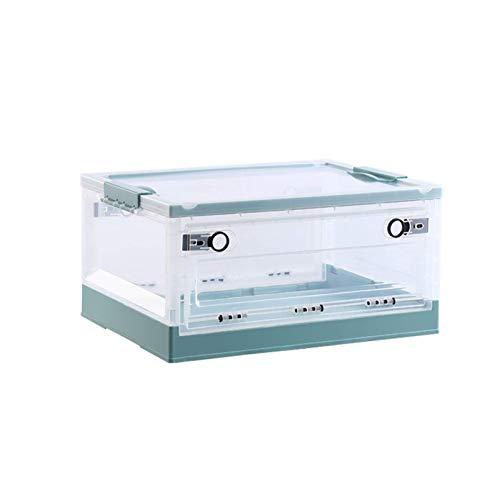 Caja de almacenamiento de doble puerta plegable de ZQCM, transparente con caja de almacenamiento de tapa Caja de almacenamiento de ropa de juguete con ruedas para ropa de oficina en casa, verde, l OJP