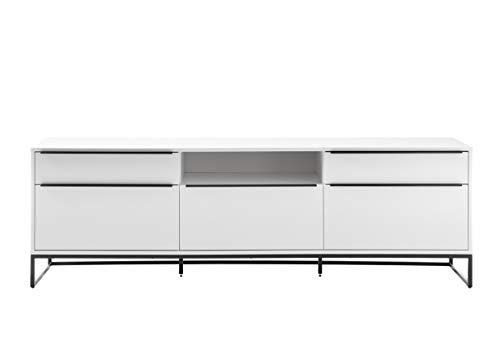 Robas Lund Lowboard 215 cm breit weiß matt, TV Möbel Wohnzimmerschrank mit Metallkufengestell, BxHxT 215x69x40 cm