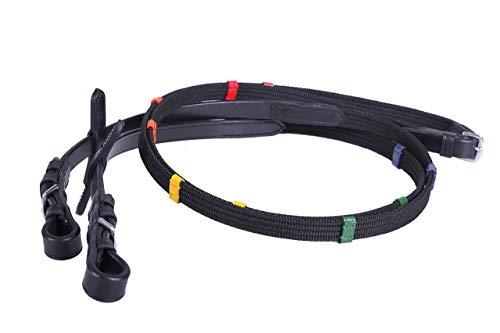 QHP Zügel Gurtzügel Pferdezügel Reitzügel farbige Stege schwarz ARBO-INOX® Größe Shetty