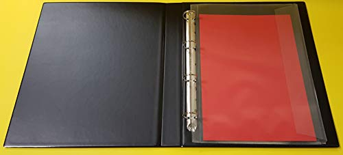 Ringbuch, Ordner in SCHWARZ, aus PVC, in A4+ ÜBERGRÖßE für Folio Format, 4-Ringe mit Einschubtasche vorne und auf der schmalen Rückenseite