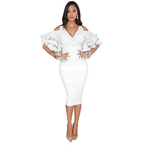 pridesong 2019 Europa und Amerika sexy Lotusblatt Ärmel Off-The-Shoulder-Kleid Kleid weiß XL