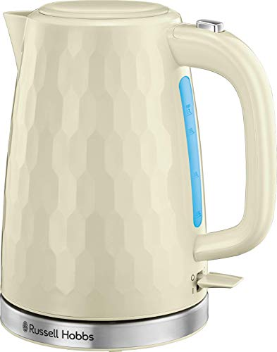 Russell Hobbs 26052 Cordless Electric Kettle - Contemporary Honeycomb Design with Fast Boil and Boil Dry Protection, 1.7 Litre, 3000 W, Cream