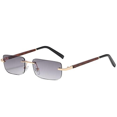 Gafas de Sol sin Montura de Madera para Mujer y Hombre, Gafas de Sol de Madera rectangulares Vintage, Gafas de conducción UV400, gradiente sin Marco, Sombras cuadradas, Gris
