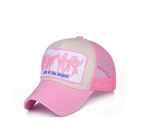 XibeiTrade Gorra de béisbol unisex de malla transpirable New York Casual Sombrero - rosa - M