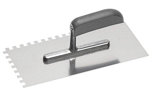Meister Glättekelle 280 x 130 mm - Zahnung: 8 x 8 mm - Rostfreier Edelstahl / Glättkelle / Glättscheibe / Traufel / Edelstahlkelle / Zahnkelle / Glättekelle mit Zahnung / 4136850
