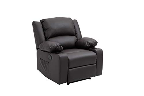 Y&T Living Modern Padded Leather Recliner - Ergonomic Adjustable overstuffed Single Reclining Sofa Chair with Heavy Duty Back and overstuffed seat for Living Room,Home,Theater,Club and Lounge (Brown)