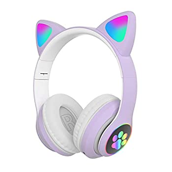LVOERTUIG Gaming Headset Fashion Bluetooth 5.0 Kids Adult Cat Ear LED Light Up Wireless Gaming Headset Foldable and Stretchable Reduction Headphones Computer Gaming Headphone