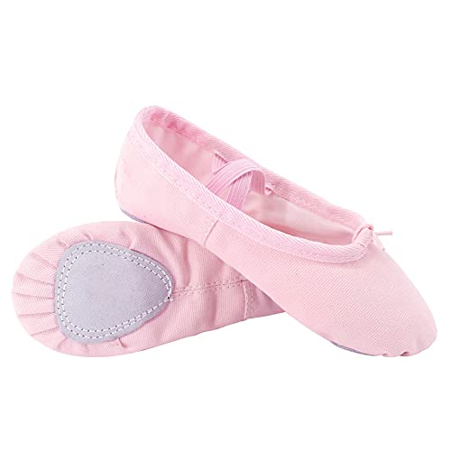 QBLDX Ballet Shoes Girls Ballet Dance Slippers Canvas Gymnastic Yoga Flat Split Sole Dance Shoes for Girls Women Toddlers,Pink-12UK