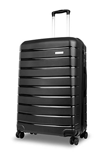Roma Durable Hard Shell Luggage (Black) 28 Inch, 73 cm, 4 Wheels, Large Spinner Suitcase with a 5 Year Warranty