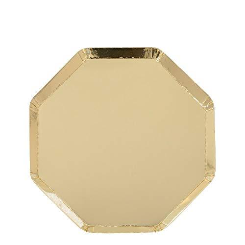 Meri Meri Meri - Platos de papel dorados desechables para fiestas, fiestas de cumpleaños, baby showers y celebraciones de boda, tamaño mediano 20 x 20 cm, paquete de 8