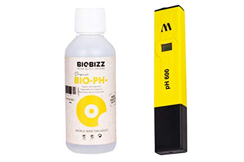 Weedness BioBizz pH- Minus 500 ml + Digitales pH-Messgerät - Natürlicher Biologischer pH-senker Grow Anbau Indoor Dünger Plagron Dünger ph Minus Flüssig