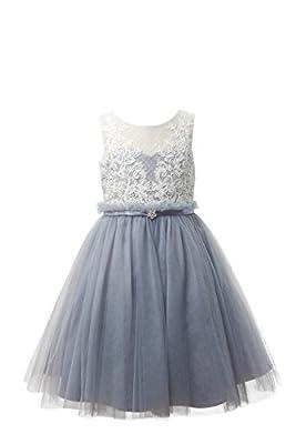 Miama Ivory Lace Dusty Gray Tulle Wedding Flower Girl Dress Junior Bridesmaid Dress,Dusty Blue,7