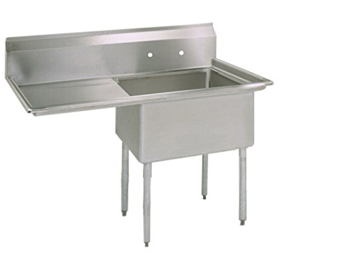 BK Resources Stainless Steel 1 Compartment Sink with Left Hand Drainboard, 38'W x 23-13/16'D