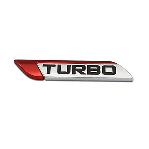 DSYCAR 3D Metall TURBO Turbocharged Auto Aufkleber Logo Emblem Abzeichen Aufkleber Aufkleber Auto Styling DIY Dekoration Zubehör für Universal Cars Moto Fahrrad Auto Styling Dekorative Zubehör (Rot)