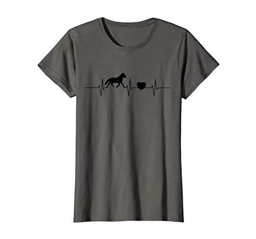 Damen Herzschlag Islandpferd Isländer Islandpony Liebe Frequenz T-Shirt