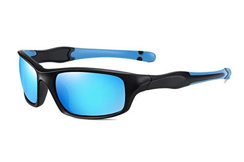 SKILEC Gafas de Sol Hombre Mujer Polarizadas TR90 - Gafas Running, Gafas Ciclismo Hombre ideales para Deporte, MTB, Golf, Bicicleta Gafas de Sol Deportivas Protección 100% UV400 (Negro Azul/Azul)