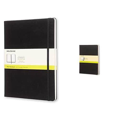 Moleskine - Cuaderno Clásico Con Hojas Lisas, Tapa Dura Y Cierre Elástico, Color Negro + - Cahier Journal, Set De 3 Cuadernos Con Páginas Blancas, Cubierta De Cartón