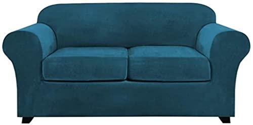 Fundas elásticas de terciopelo para sofá, fundas para sillón que incluyen funda de base y funda de cojín, protector de muebles de ajuste a forma, suave y grueso, lavable a máquina-Camel_3_Seater