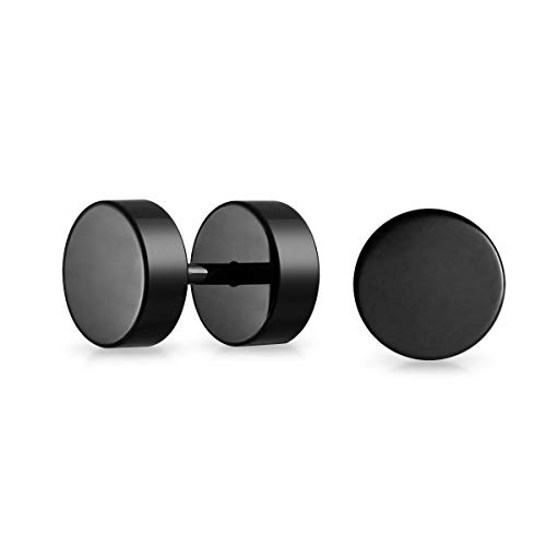 2 Stück Fake Plugs Edelstahl Schwarz eloxiert 8 mm