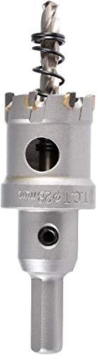 LEDUX Lochsäge Hartmetall-Bohrer, Zahnlochfräser, TCT Lochsägen Set mit Zentrierbohrer, für Edelstahl, Blech, Metall (28mm)