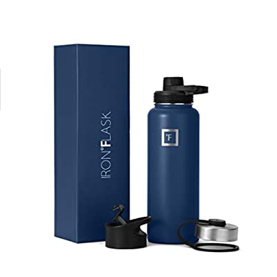 IRON °FLASK Sports Water Bottle - 14oz,18oz,22oz,32oz,40oz, or 64oz, 3 Lids (Spout Lid), Vacuum Insulated Stainless Steel, Hot, Modern, Simple Thermo Mug, Hydro Metal Canteen (40 Oz, Twilight Blue)