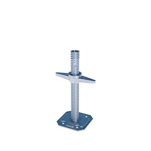 Gewindefußplatte Ø 38 mm, Länge 30 cm feuerverzinkt, Bodenplatte 150x150 mm