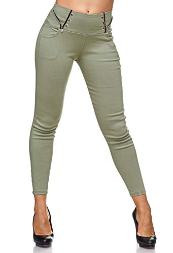 ArizonaShopping Damen Treggings Jeans Hose Jeggings Hüfthose D2122, Farben:Grün, Größe:L/XL