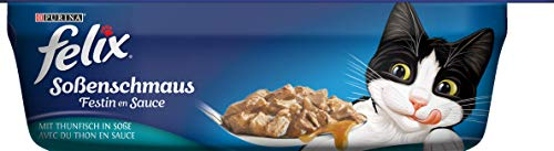 FELIX Soßenschmaus Katzennassfutter in köstlicher Soße, mit Vitamin D & E, Omega-6-Fettsäuren, Innovative Verpackung, 6er Pack (6 x 200 g Schale)