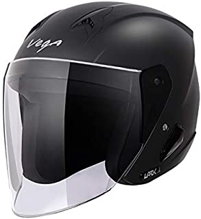 Vega Lark Open Face Helmet (Dull Black, M)