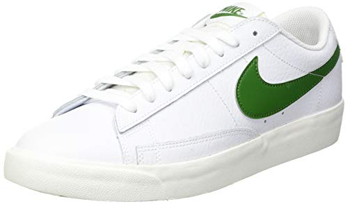 Nike Blazer Low Leather, Scarpe da Basket Uomo, White/Forest Green-Sail, 44 EU