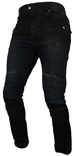Fashio Men's Motorcycle Motorbike Jeans Trouser Reinforce Aramid Protection Lining Black K-05 W36-L32