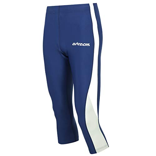 Airtracks Pantalon de course 3/4 fonctionnel – Pantalon de course – Respirant – Compression – Séchage rapide, Mixte Homme, bleu, s
