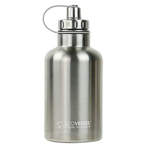 ECO Vessel – Boss Growler Triple isotherme Bouteille d'eau 1 814,4 gram, mixte, Argenté (Express)