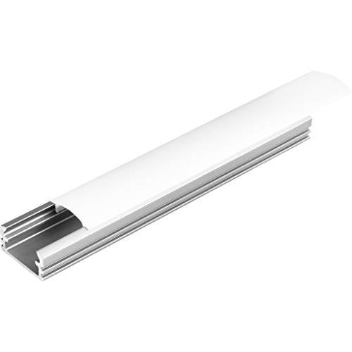 KIT de 6 x 1 mètre P2 Profilé en aluminium ARGENT pour les bandes LED avec couvercles satinés, bouchons et clips de fixation