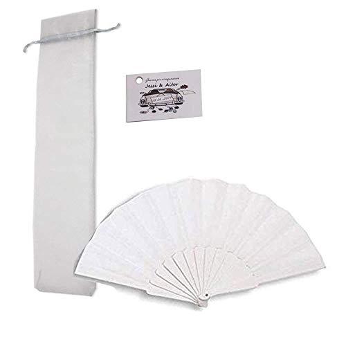 Lote de 55 Abanicos Bodas Abanicos de Plástico Blanco + Bolsas de Organza + Tarjetas Personalizadas Abanicos de PVC y Tela de Color Blanco. Abanicos para Invitadas, Abanicos Bodas