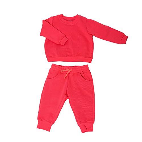 Set Baby-Pullover & Baby-Hose | 100% Bio-Baumwolle | Anti-allergisch | Weich & bequem | Ideal für empfindliche Baby-Haut | GOTS-Zertifiziert | Set Kinder-Pullover & Kinder-Hose | Fair-Trade, 74, Rot
