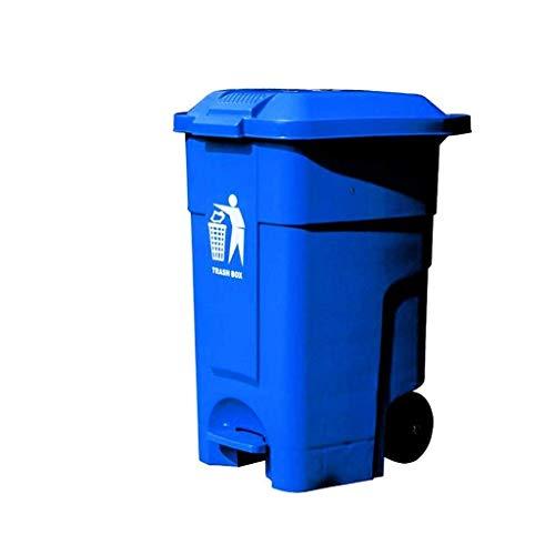 ZHHZ Utomhus papperskorg 50 liter soptunna uteplats hjul soptunna blå pedal typ multifunktionell soptunna kontor soptunna soptunna (färg: Blå storlek: 50 L)