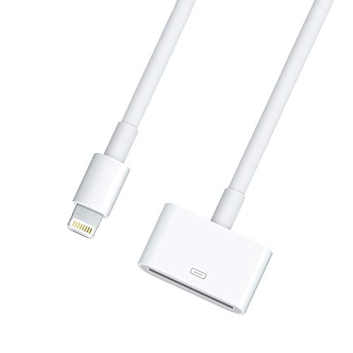 Lightning to 30 Pin Adapter Charging Sync Connector 8 Pin Male to 30 Pin Female Cable for Select iPhone, iPad and iPod Models (White)
