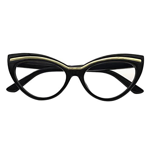 XWYZY Gafas de Lectura, Gafas de Lectura Mujeres Gato Ojo Gafas Vintage Lente Claro Lentes presbergientes Marcos (Color : +150, Size : C1 Black)
