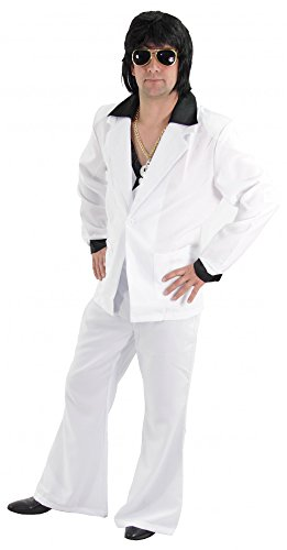 Foxxeo 40133 | cooler 80er Jahre Disco Anzug weiß für Herren Gr. M - XXL, Größe:M