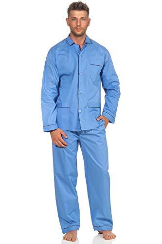 NORMANN-Wäschefabrik Klassischer Herren Pyjama gewebt mit durchknöpfbarem Oberteil - Popeline - 191 101 91 110, Größe:62, Farbe:hellblau