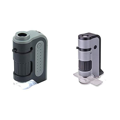 Carson MicroBrite Plus 60x-120x LED Lighted Pocket Microscope & MicroFlip 100x-250x LED Lighted Pocket Microscope with Flip Down Slide Base, Smartphone Adapter Clip, and UV Flashlight