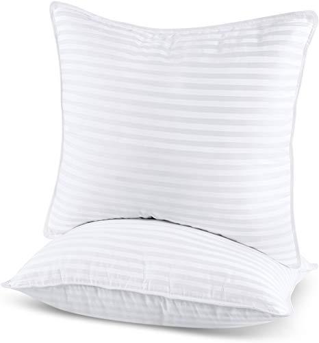 Utopia Bedding Kopfkissen (2er Set) - 80 x 80 cm Schlafkissen mit Reißverschluss - Anpassbare Hohlfaser Füllung - Baumwollmischung Bezug - Weich et Atmungsaktiv Kissen (Weiß)