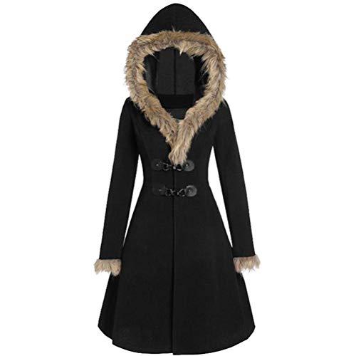 Male god Abrigo para mujer de otoño e invierno de piel con capucha, delgado, largo, casual, color sólido, cálido, abrigo de lana para mujer (color: negro, tamaño: mediano)