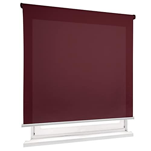 HOME MERCURY - Estor Enrollable translúcido Liso (120x180 cm, Burdeo)