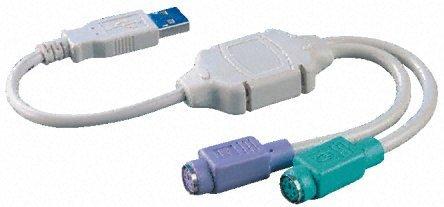Bigtec USB 2 x PS/2 adaptador para Tastatur y ratón, ratón USB...