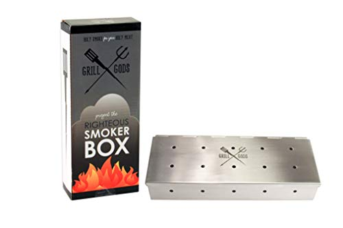 Grill Gods Smoker Box for BBQ Grill Wood Chips - 30% More Holes for Better Flavor - Stainless Steel Smoker - Best Gas Grill and Charcoal Barbecue Smoker with Reinforced Hinged Lid - Grilling Accessory Boxes Smoker