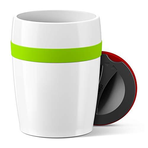 Emsa N2060200 Travel Cup Ceramics Isolierbecher, Keramikbeschichtung, Weiß/Hellgrün 11,2 cm